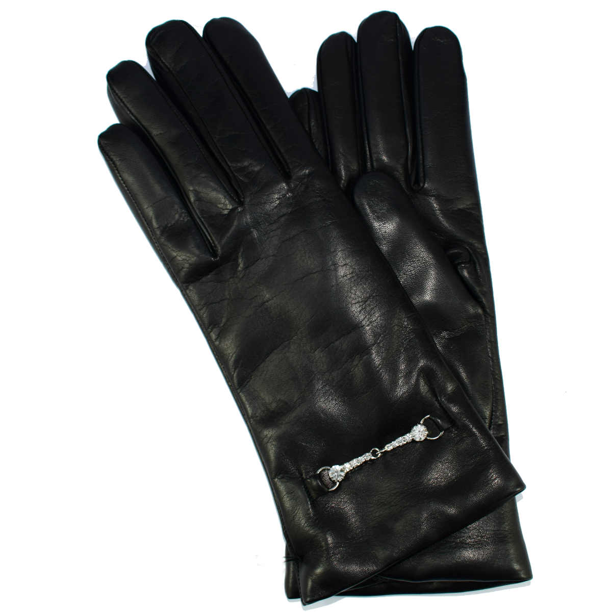 5G9 LEATHER GLOVES WITH BRILLIANT BRACKET by Bottega Fiorentina