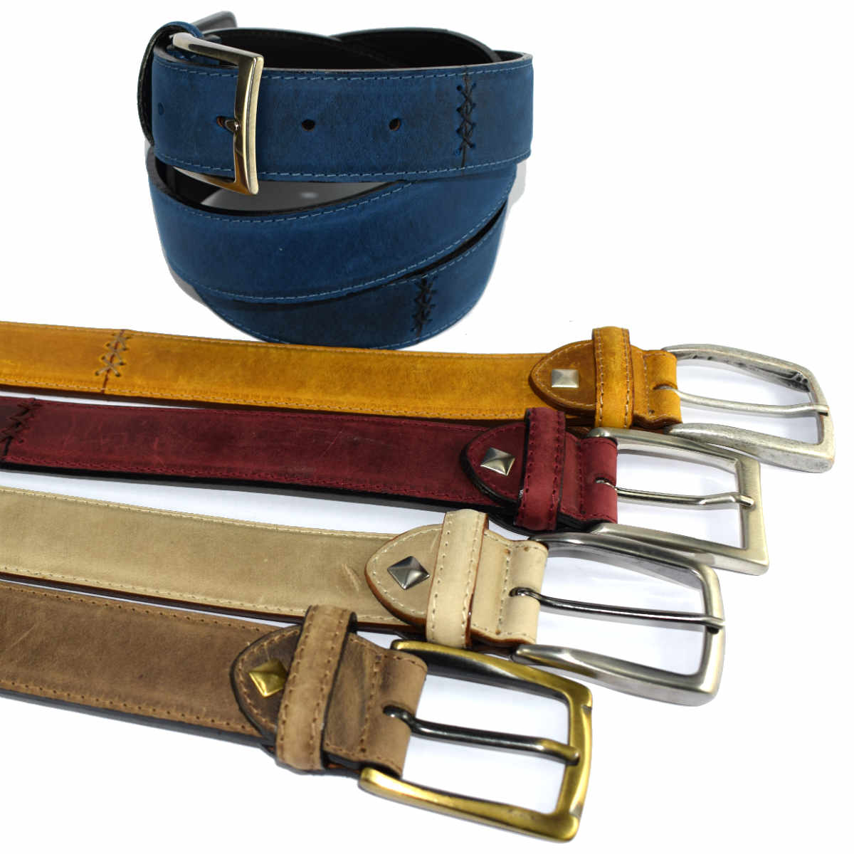 6335 GREASED LEATHER BELT by Bottega Fiorentina