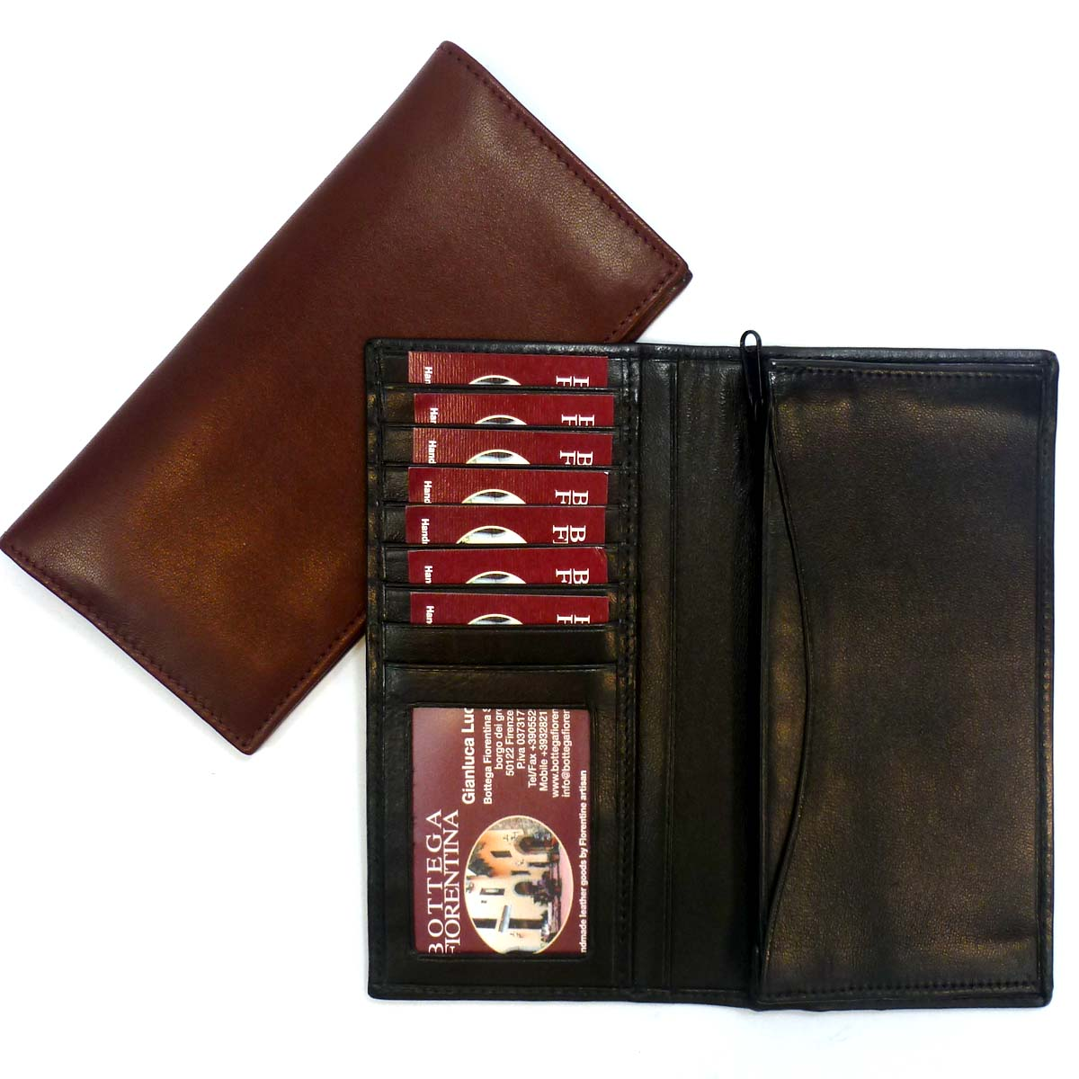 1378 vertical credit card wallet with id window by Bottega Fiorentina